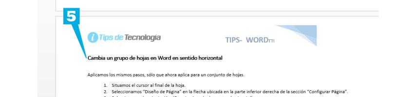 cambiar hoja en word horizontal - paso 5