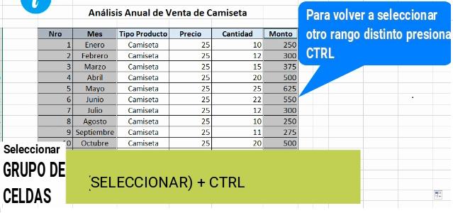Seleccionar un grupo de celdas en Excel