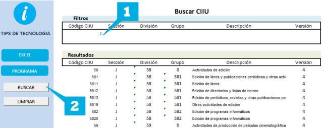 Buscar CIIU Excel