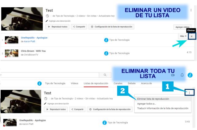Eliminar Lista o Video Youtube