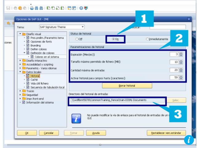 Opciones de historial en SAP