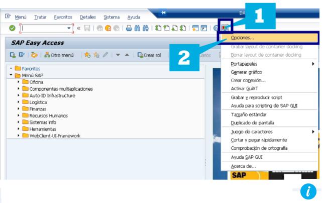 Opciones en historial SAP