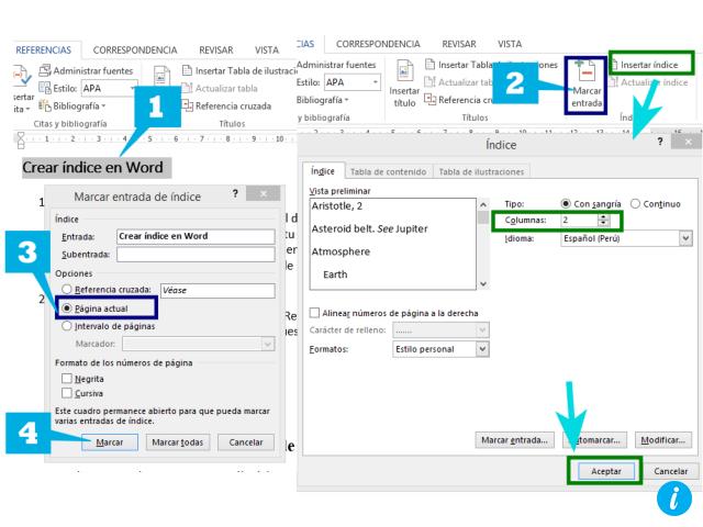 Crear índice manual en Word