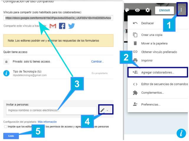 Agregar colaboradores en Google Form