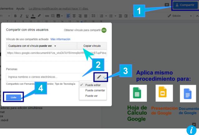 Agregar colaboradores para editar documentos de google