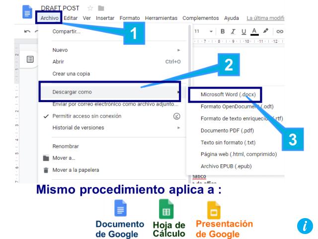 Exporta a Office los documentos de google